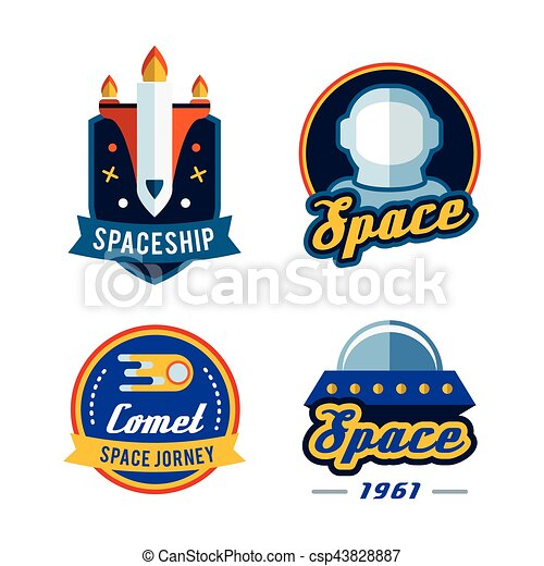 Vintage space and astronaut badges or labels set. - csp43828887