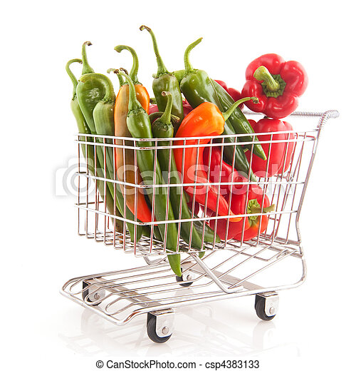 Shopping cart with vegetables - csp4383133