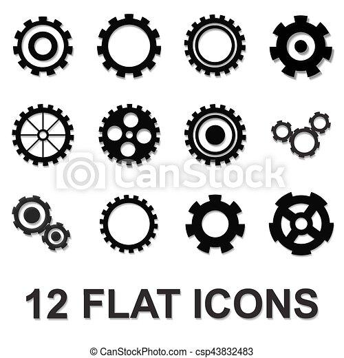 gear icon set, black isolated on white background - csp43832483