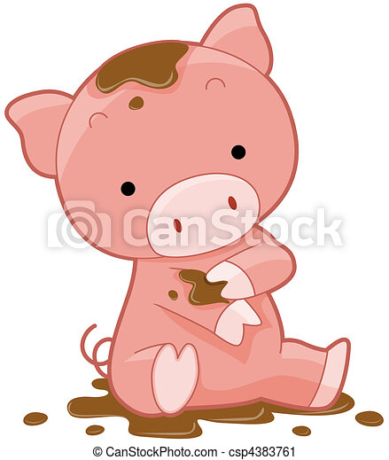 Clipart of Cute Pig csp4383761 - Search Clip Art ...