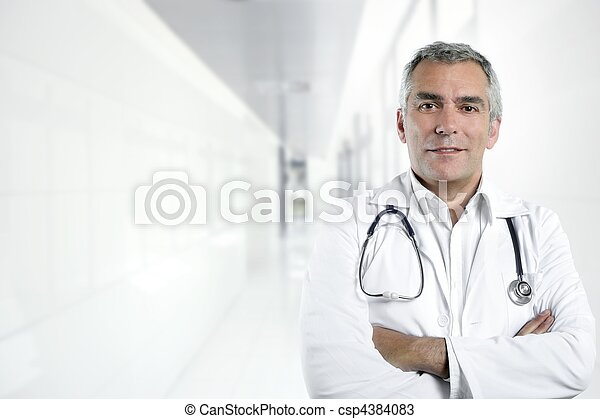 gray hair expertise senior doctor hospital portrait - csp4384083