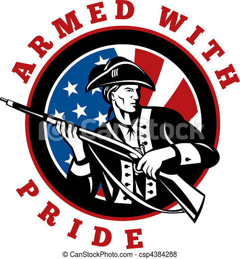 American revolutionary soldier with rifle flag - csp4384288