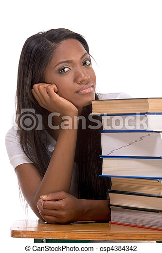 Black college student woman by stack of books - csp4384342