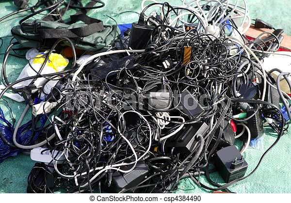 battery charger and wires tech mess - csp4384490