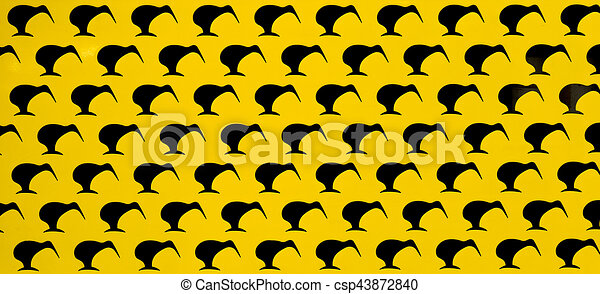 Black on Yellow Kiwis - csp43872840