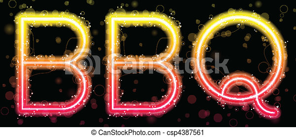 Barbecue Orange and Yellow Neon Sign - csp4387561