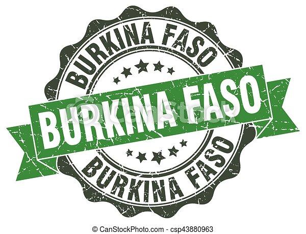 Burkina Faso round ribbon seal - csp43880963