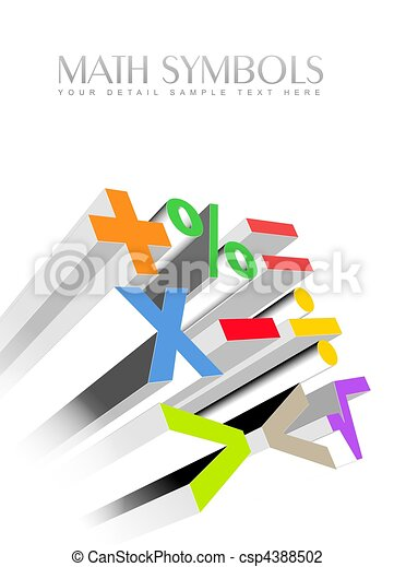 3d colorful math symbols - csp4388502