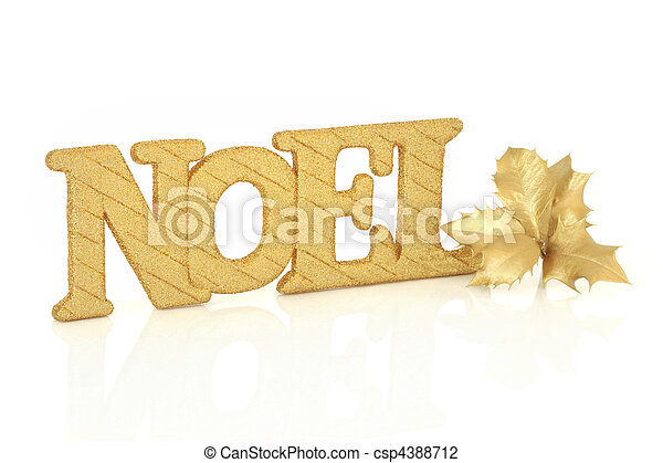Noel Sign and Holly - csp4388712
