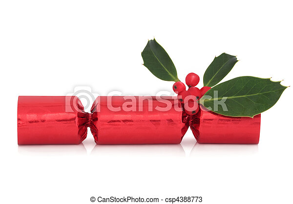 Christmas Cracker and Holly - csp4388773