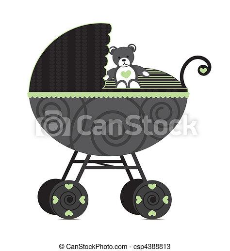 Baby Pram Black - csp4388813