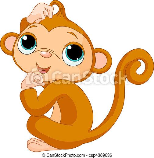 Thinking monkey - csp4389636