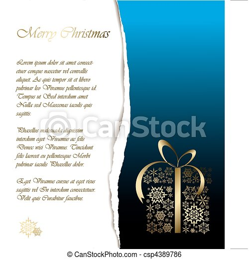 Abstract Christmas card with sample text - csp4389786