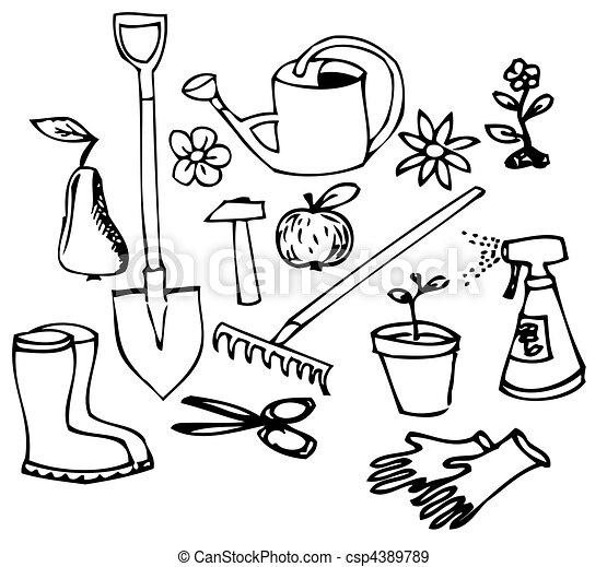 Garden doodle collection - csp4389789