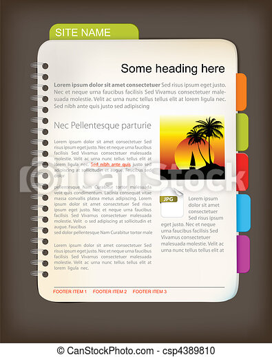 Web site template - Open notepad - csp4389810