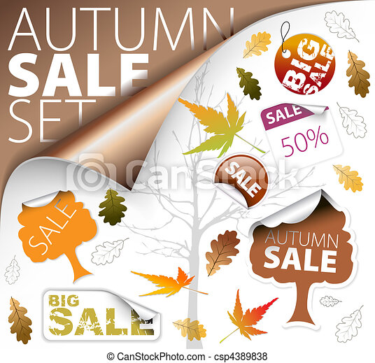 Set of season (fall) tickets and sale labels - csp4389838