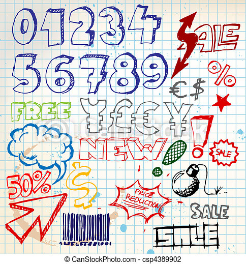 Set of colorful doodle eshop / advert elements - csp4389902