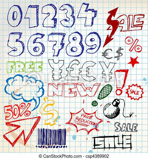 Set of colorful doodle eshop / advert elements - csp4389902