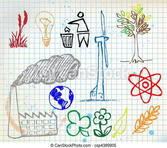Set of colorful ecology hand-drawn icons - csp4389905