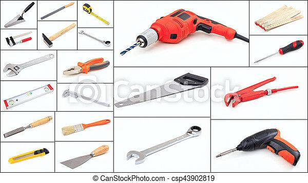拼貼藝術, 集合, 工具, 手 - csp43902819