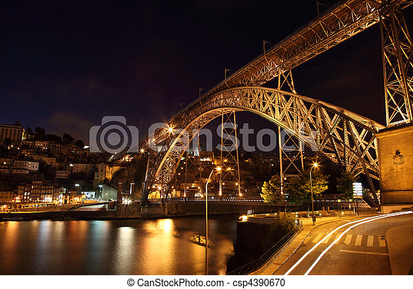 Dom Luis Bridge illuminated at night, Oporto Portugal - csp4390670