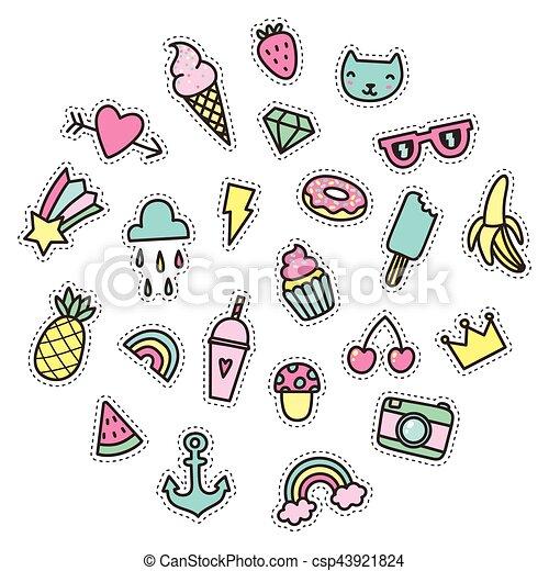 illustration vecteur de mignon rigolote nourriture symboles petit objects csp43921824. Black Bedroom Furniture Sets. Home Design Ideas