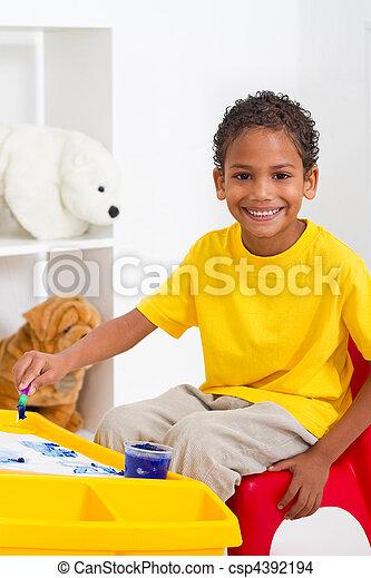 preschool boy in classroom - csp4392194