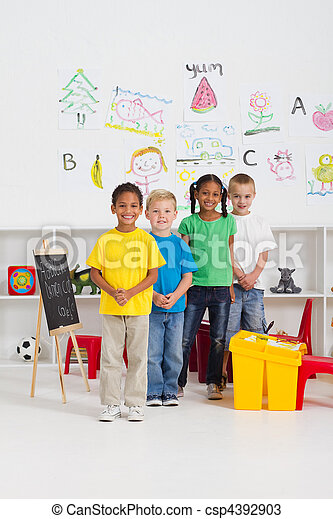 group of kindergarten kids - csp4392903