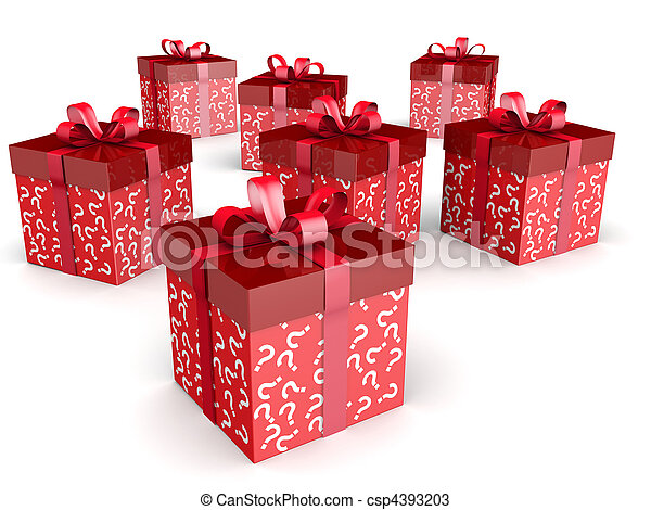 Mystery gift and surprise concept gift box - csp4393203