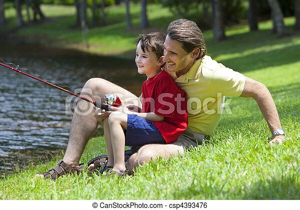 fiume, suo, padre, pesca, figlio - csp4393476