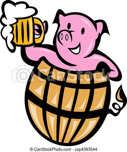 pig pork in barrel with beer mug - csp4393544