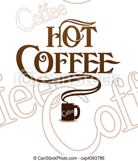 Cup of hot coffee. Over white. Tile background - csp4393786