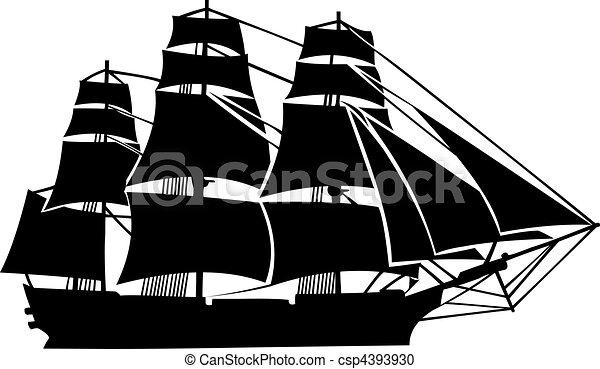 Military sailboat ,19th century - csp4393930
