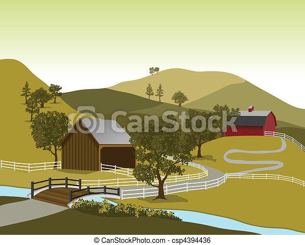 American Farm Scene - csp4394436