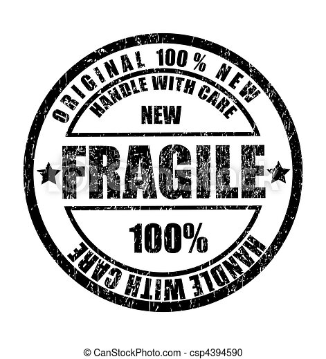 Grunge rubber stamp with the text fragile - csp4394590