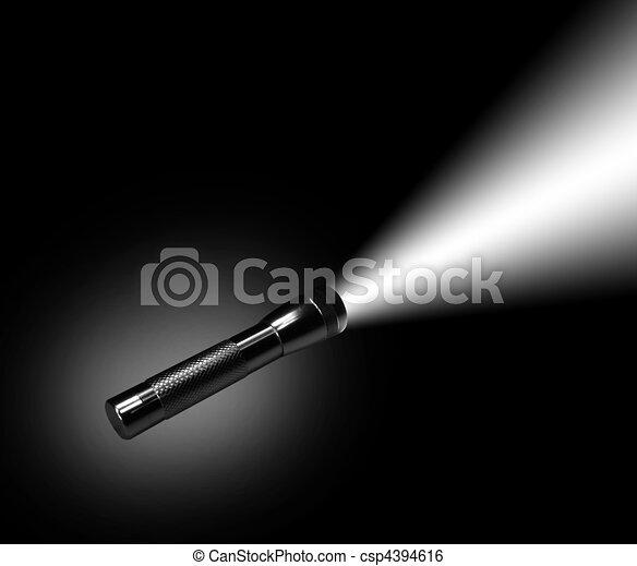 Aluminum flashlight in night - csp4394616