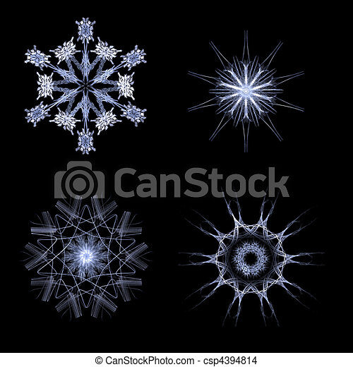 Fractal snow flakes on black background - csp4394814