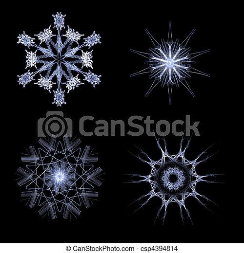 Fractal snow flakes on black background - csp4394814