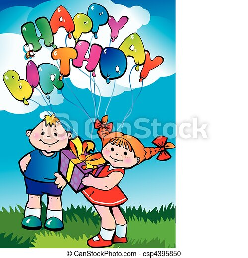 Vector Clipart of Happy birthday - Boy and girl with gifts ...