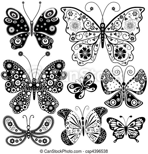 Graphic design art black and white  Vector Illustration of Collection black and white butterflies for ...