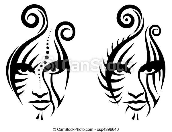 Tribal face - csp4396640