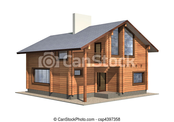 Residential house of wooden timber. 3d model render. Isolation on white background. Real estate - csp4397358