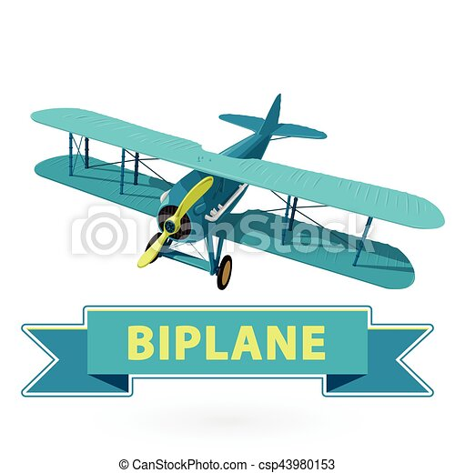 Biplane from World War with blue coating. Model aircraft propeller. - csp43980153