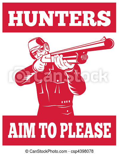 Hunter aiming a shotgun rifle front view  - csp4398078
