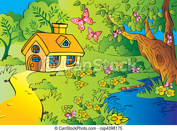 Cottage In The Woods Clipart 1