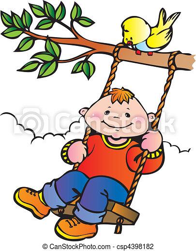 Boy on a swing. - csp4398182