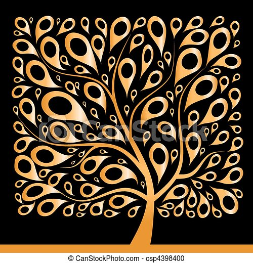 Golden tree beautiful, square shape - csp4398400