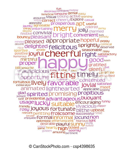 happy cheerful word cloud - csp4398635
