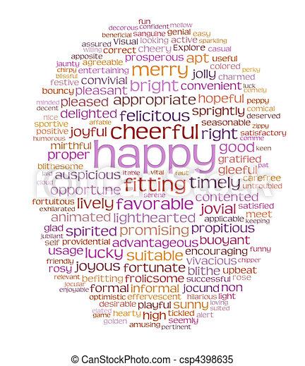 happy cheerful word cloud - csp4398635