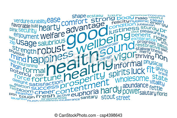 good health and wellbeing tag cloud - csp4398643